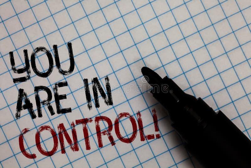 Het conceptuele hand het schrijven tonen u is in Controle De Verantwoordelijkheid van de bedrijfsfototekst over een Zwarte van de stock foto