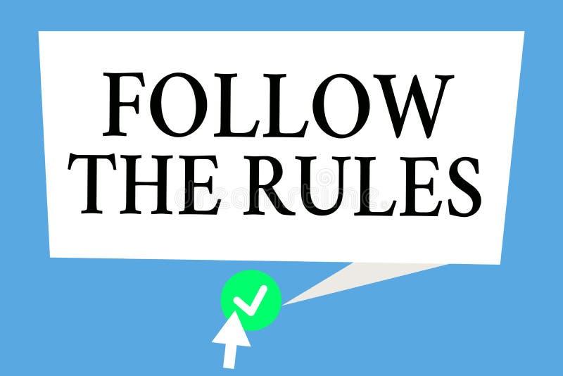 Het conceptuele hand het schrijven tonen volgt de Regels De bedrijfsfototekst geeft opdracht tot iemand stok aan bepaalde gidsen  vector illustratie