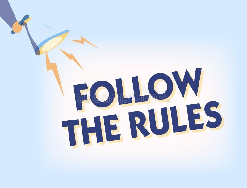 Het conceptuele hand het schrijven tonen volgt de Regels De bedrijfsfototekst geeft opdracht tot iemand stok aan bepaalde gidsen  stock illustratie