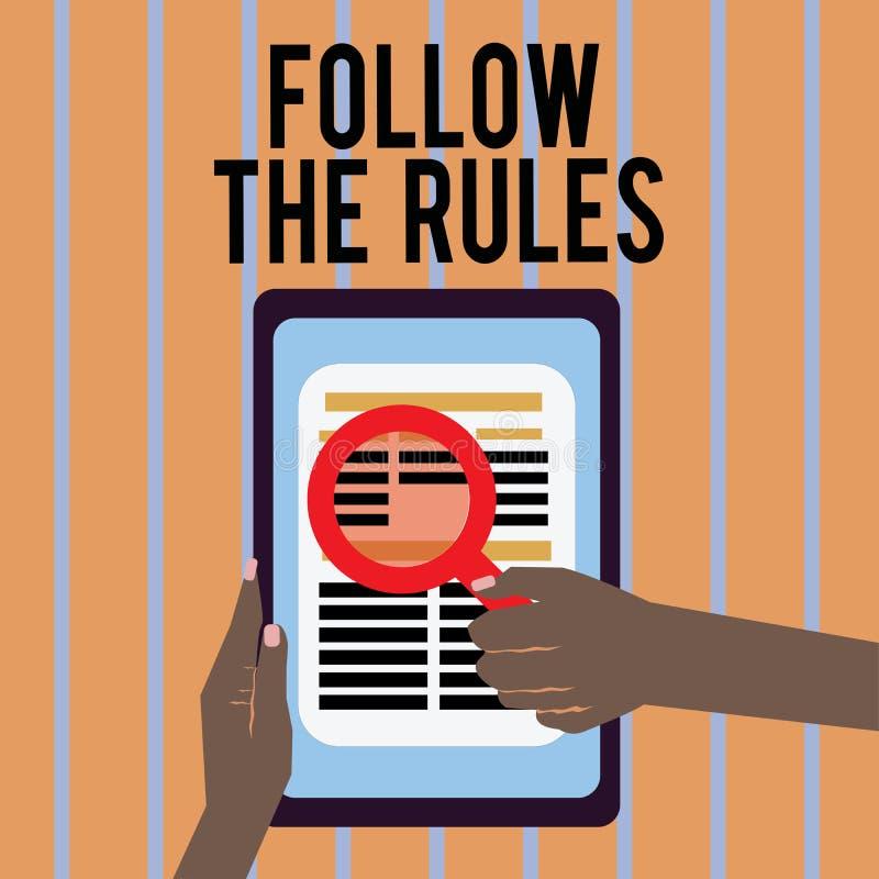 Het conceptuele hand het schrijven tonen volgt de Regels De bedrijfsfototekst geeft opdracht tot iemand stok aan bepaalde gidsen  royalty-vrije illustratie