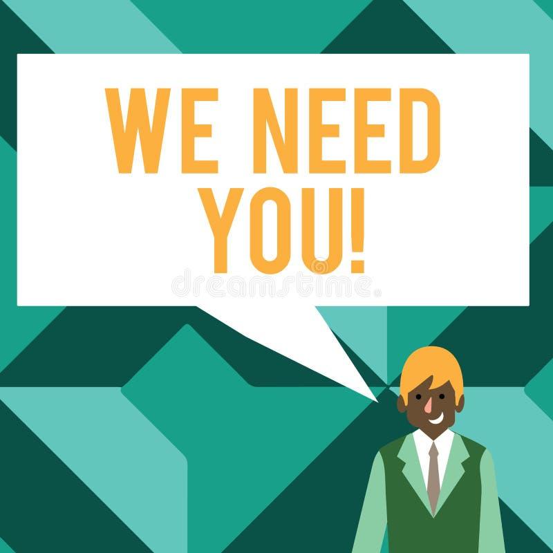 Het conceptuele hand het schrijven tonen wensen wij u Bedrijfsfototekst die iemand vragen om voor bepaalde baan samen te werken o royalty-vrije illustratie
