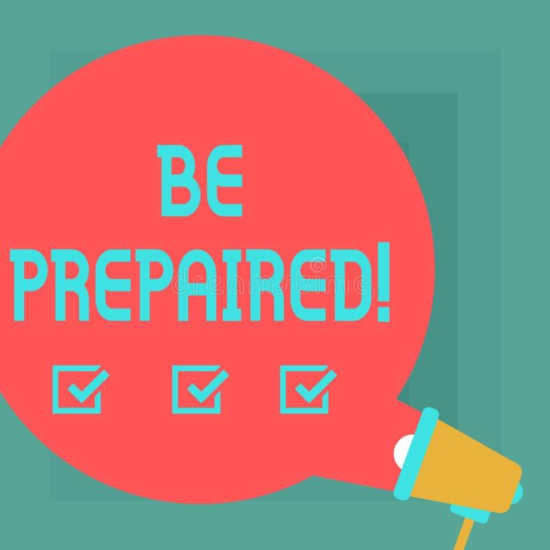 Het conceptuele hand het schrijven tonen wordt voorbereid Het Verblijfs Klaar Bereid van de bedrijfsfototekst om een kans te baat vector illustratie