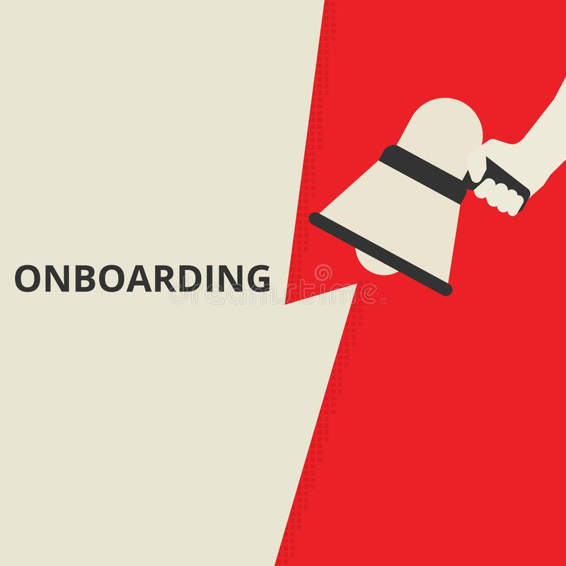 Het conceptuele het schrijven tonen Onboarding vector illustratie