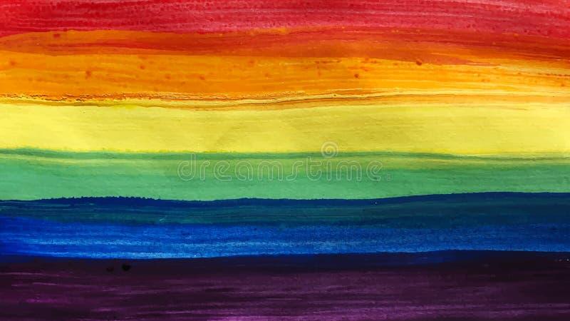 Het conceptuele vectorontwerp van de waterverfaffiche voor viering van de rechten en de parades van LGBTI met regenboogkleuren vector illustratie