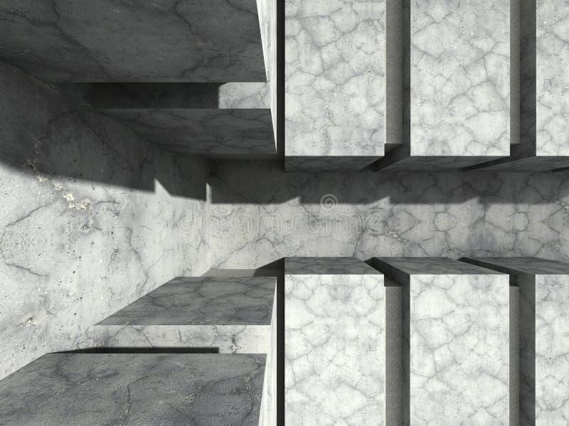 Het concrete geometrische licht van de muur unde zon Abstracte architectuurbedelaars stock illustratie