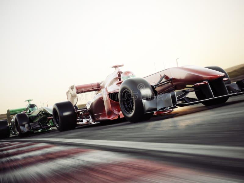 Het concurrerende het team van motorsporten rennen Snel bewegende generische raceauto's die onderaan het spoor rennen stock illustratie