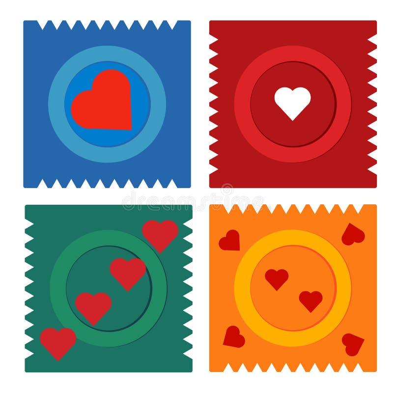 Het condoom vlak vastgesteld pictogram van de contraceptiedag in verpakking met harten vector illustratie