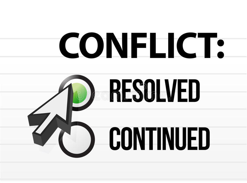 Het conflict loste vraag en antwoordselectie op royalty-vrije illustratie