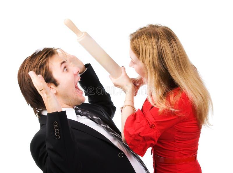 Het conflict van de man en van de vrouw stock afbeeldingen