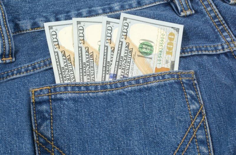 Het contante geld in uw zak royalty-vrije stock fotografie