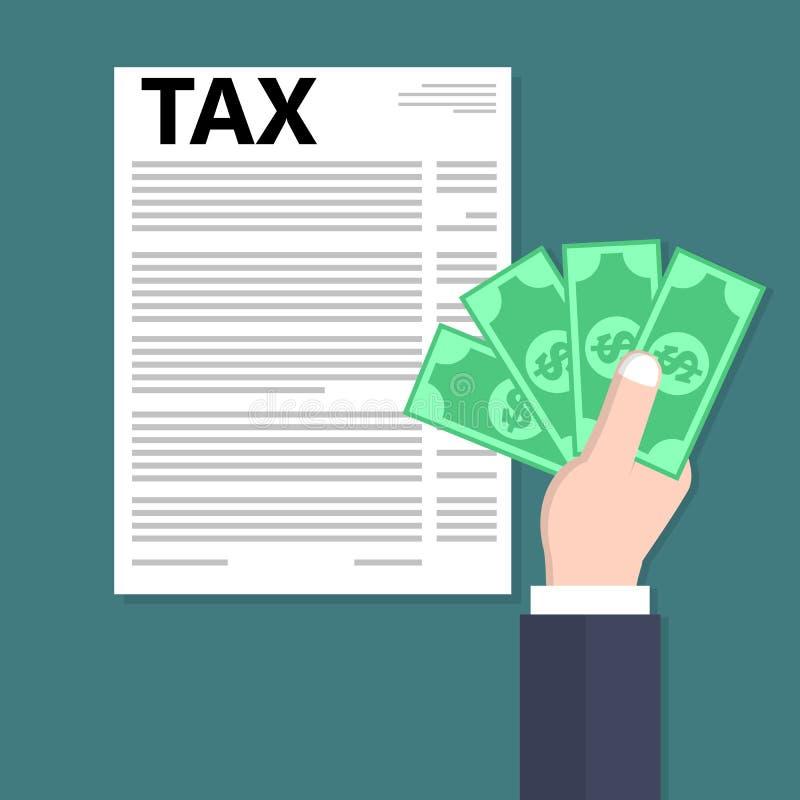 Het contante geld van de handholding en het betalen van belasting royalty-vrije illustratie