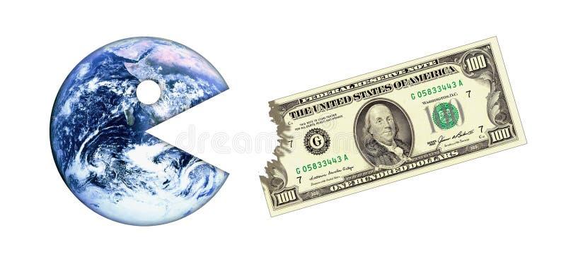 Het contante geldcrisis van de aarde stock illustratie