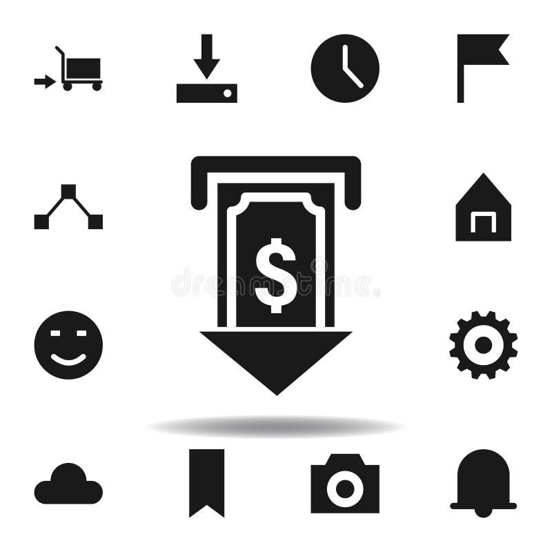 het contante geldpictogram van de gebruikersatm dollar reeks pictogrammen van de Webillustratie de tekens, symbolen kunnen voor W vector illustratie