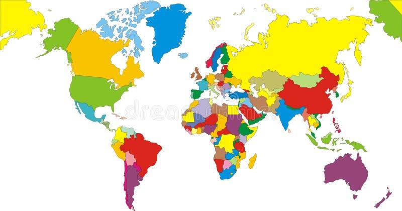 Het Continent van de Kaart van de wereld vector illustratie
