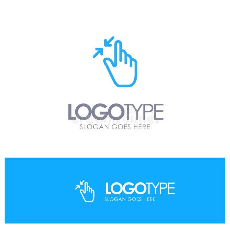 Het contract, Gebaren, Interface, Snuifje, raakt Blauw Overzicht Logo Place voor Tagline stock illustratie