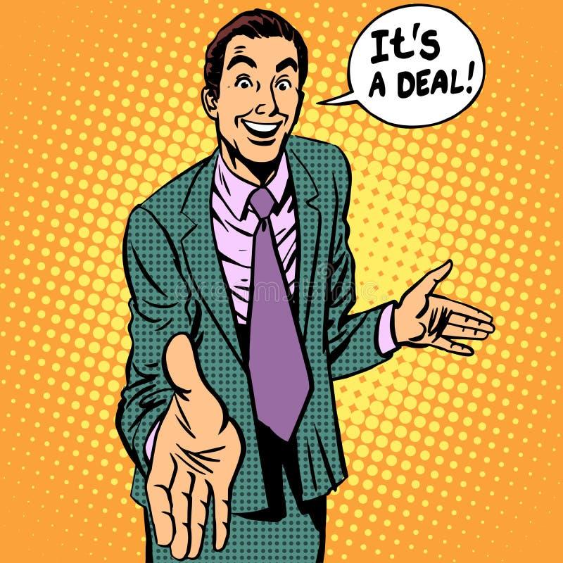 Het contract van de de zakenmanhanddruk van de overeenkomstenmens vector illustratie