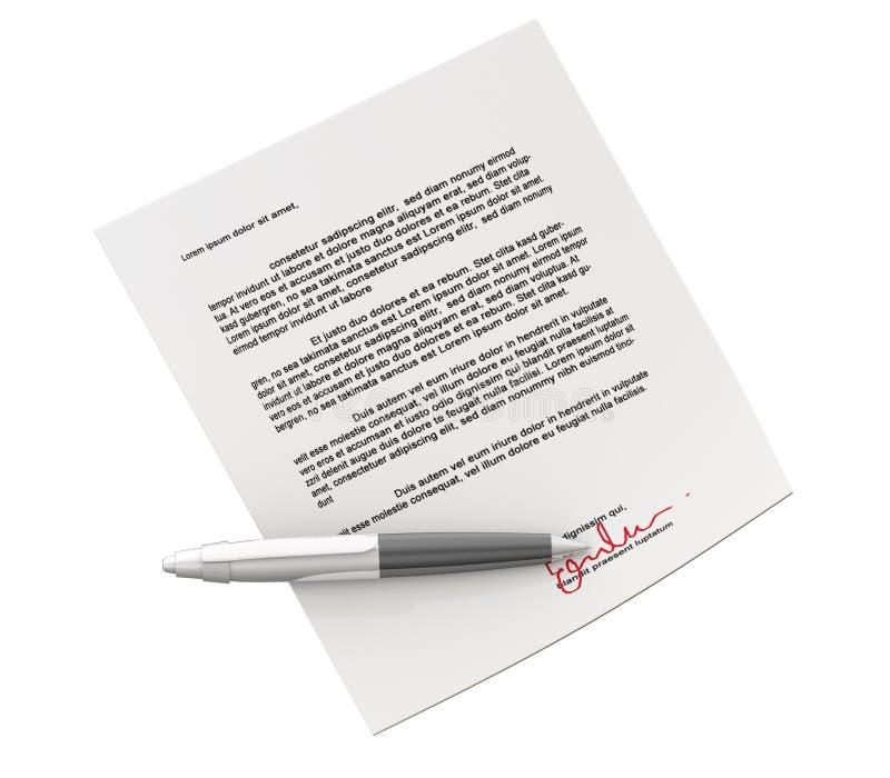 Het contract van Signin stock illustratie