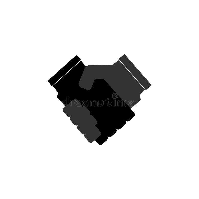 Het contractovereenkomst van het handdruk vector vlakke pictogram voor zaken, financiën, apps en websites royalty-vrije illustratie