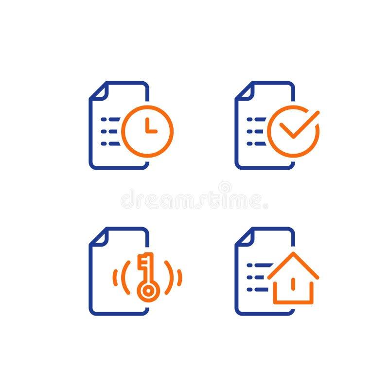 Het contractverwezenlijking van het huurhuis, hypotheekaanvraagformulier, de voorwaarden van de huislening, onroerende goederenco royalty-vrije illustratie