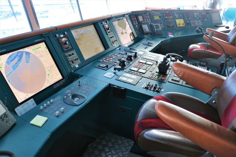 Het controlebord van het cruiseschip stock afbeeldingen