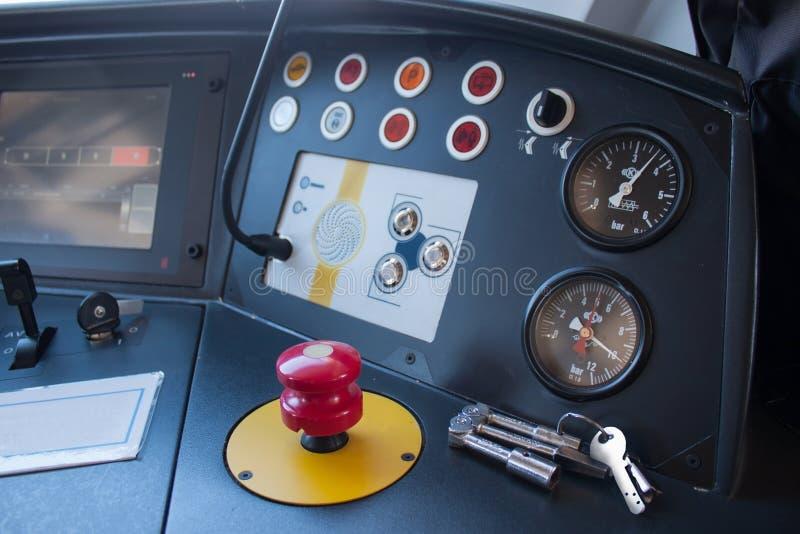Het controlebord van de moderne trein royalty-vrije stock foto