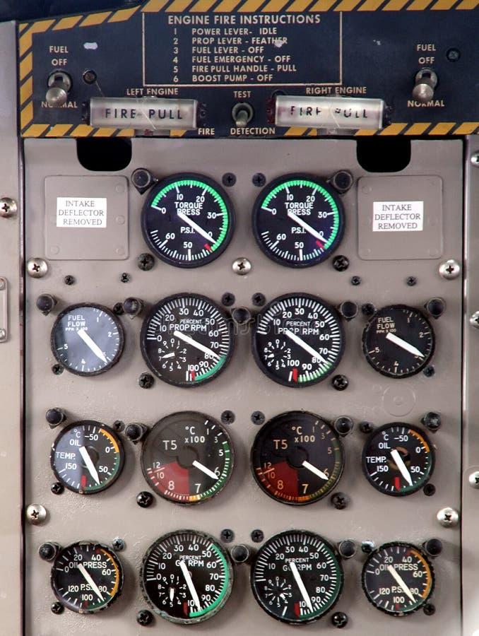 Het controlebordvertoning van vliegtuigen stock foto's