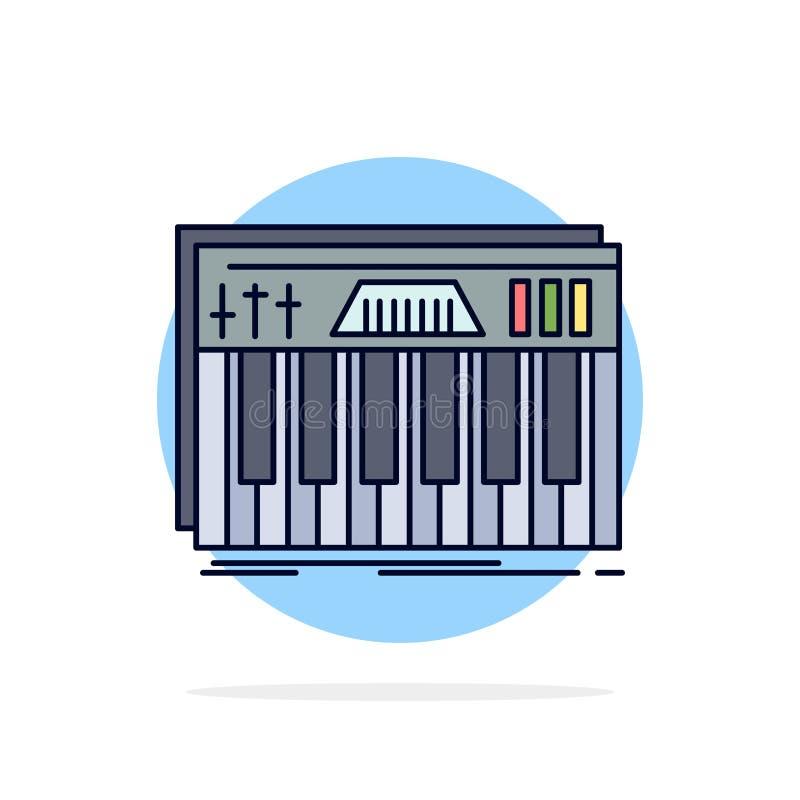 Het controlemechanisme, toetsenbord, sleutels, Midi, klinkt de Vlakke Vector van het Kleurenpictogram vector illustratie