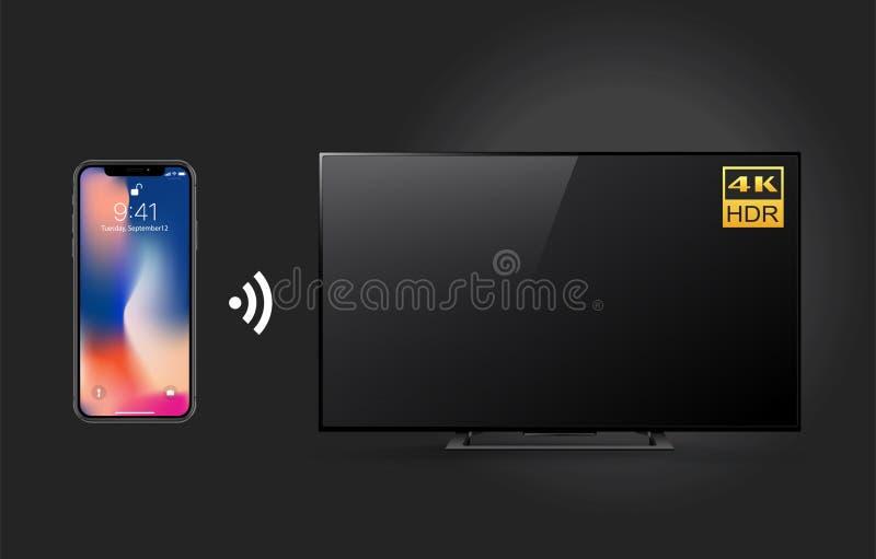 Het controleren 4k TV met smartphone en Wifi-technologie op zwarte achtergrond wordt geïsoleerd die vector illustratie