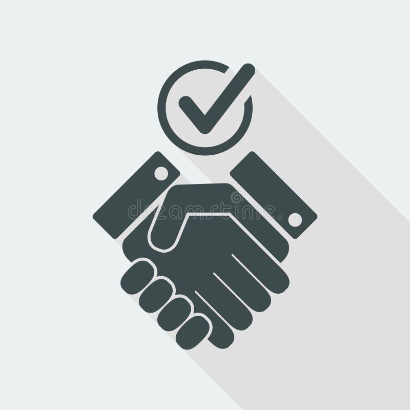 Het controleren van overeenstemmings vlak pictogram royalty-vrije illustratie