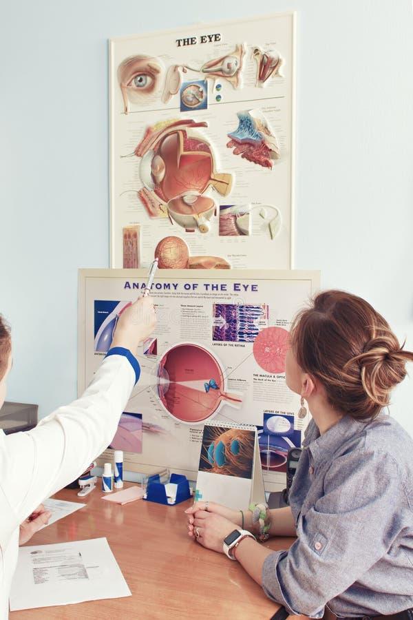 Het controleren van zicht in een kliniek van de toekomst stock foto's