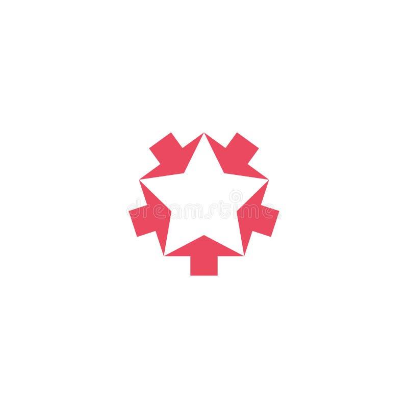 Het convergerende roze model van het vijf pijlenembleem, komt de ster van de vormvorm, creatief geometrisch grafisch symboolgroep royalty-vrije illustratie