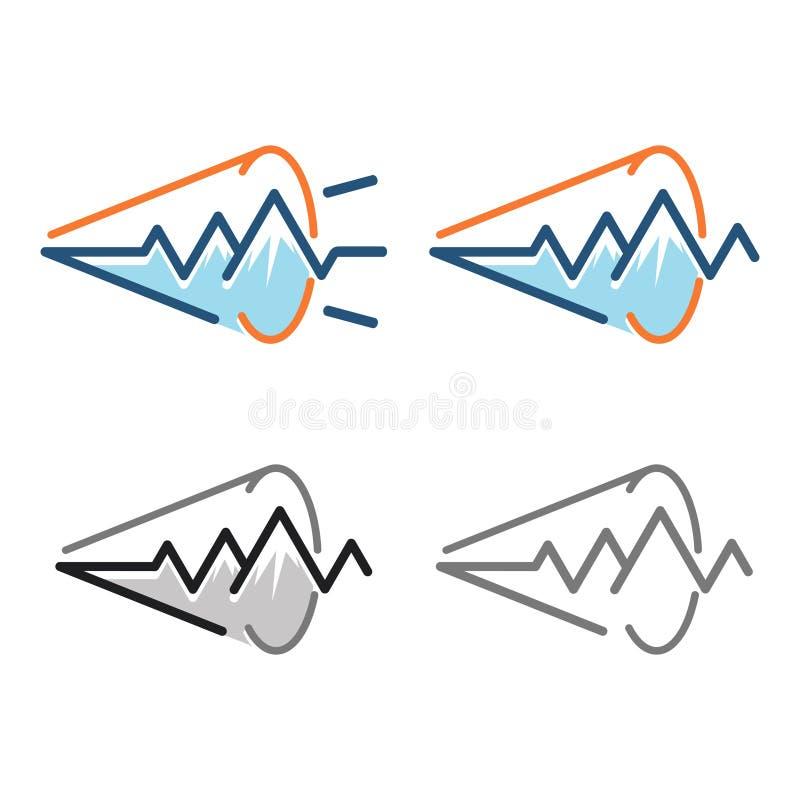 Het Correcte Signaalimpuls Logo Symbol van de berg Luide Spreker stock illustratie