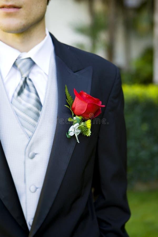 Het corsage van de bruidegom royalty-vrije stock foto