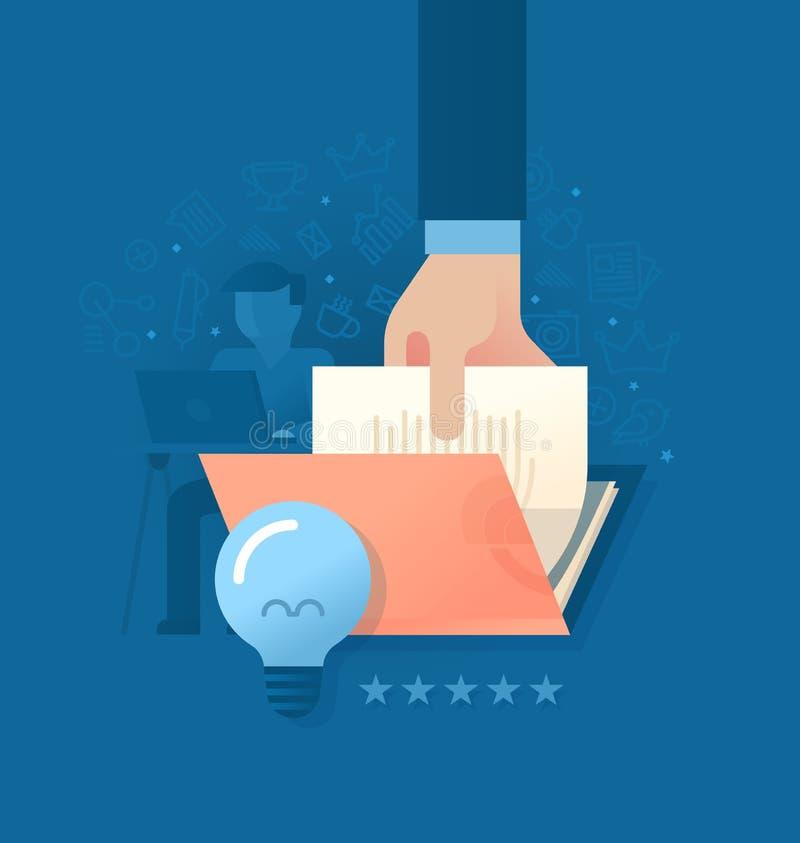 Het creëren van Kwaliteitsinhoud vector illustratie