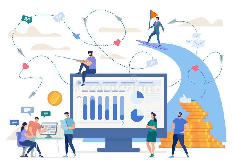 Het creëren van Succesvol Online Bedrijfs Vectorconcept stock illustratie