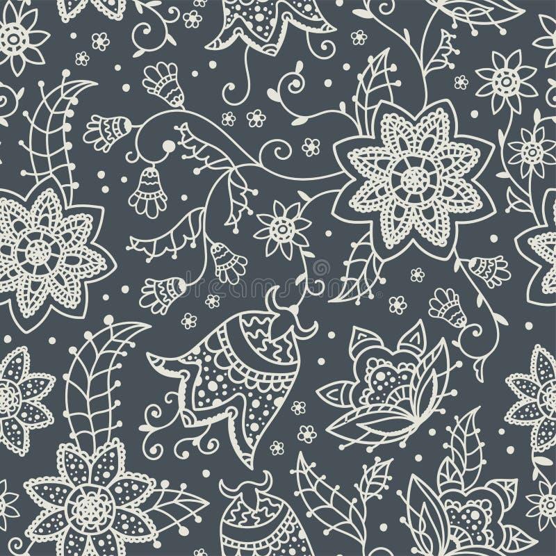 Het creatieve bloemen naadloze patroon met abstracte krabbel bloeit, uitstekende achtergrond in grijs en wit - groot voor manierd royalty-vrije illustratie