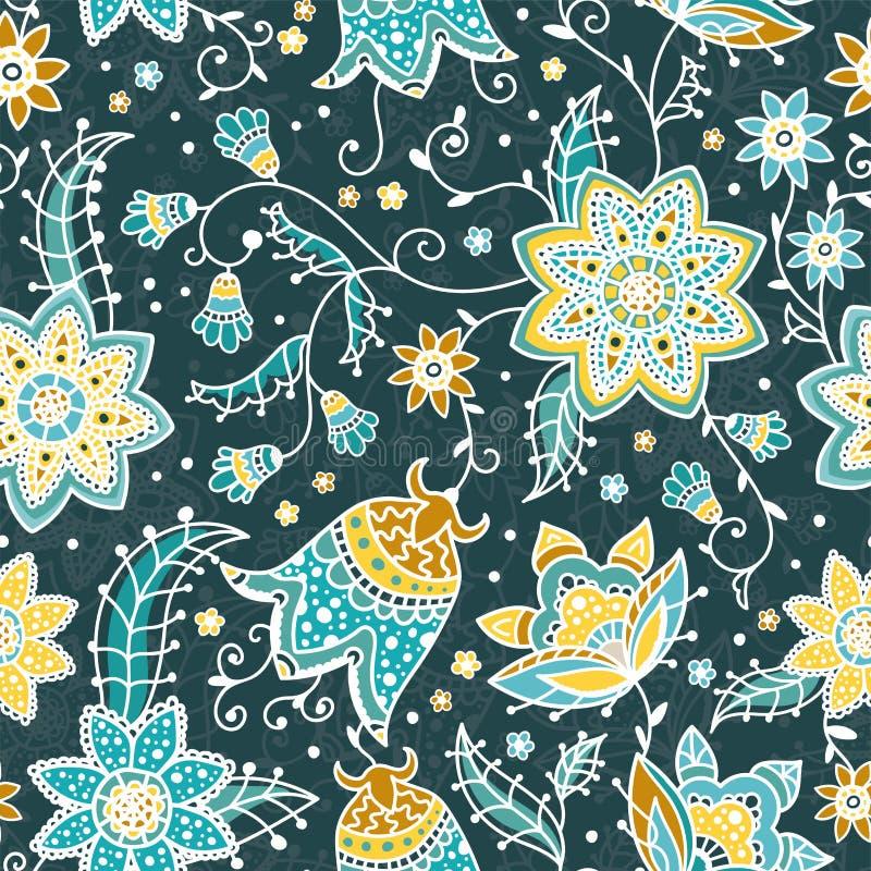 Het creatieve bloemen naadloze patroon met abstracte krabbel bloeit, uitstekende achtergrond in turkoois, geel en sinaasappel - g royalty-vrije illustratie