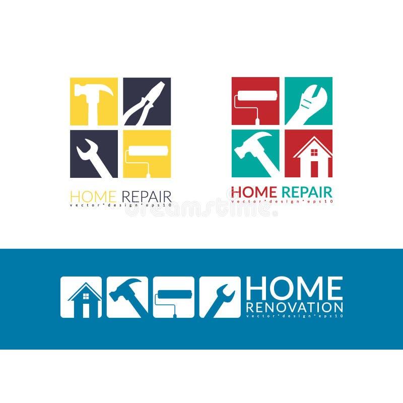Het creatieve concept van de huisreparatie, geïsoleerde het malplaatje van het embleemontwerp vector illustratie