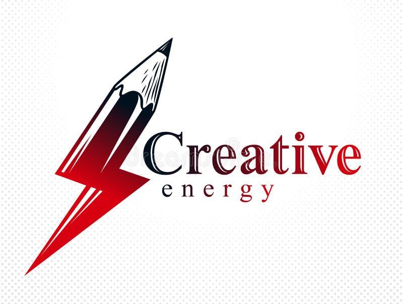 Het creatieve die concept van de energiemacht door potlood in een vorm van bliksembout, vectorembleem of pictogram, de macht van  vector illustratie