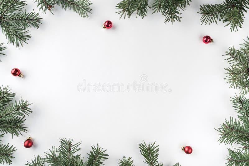 Het creatieve die kader van Kerstmisspar wordt gemaakt vertakt zich op witte achtergrond met rode decoratie, denneappels stock fotografie