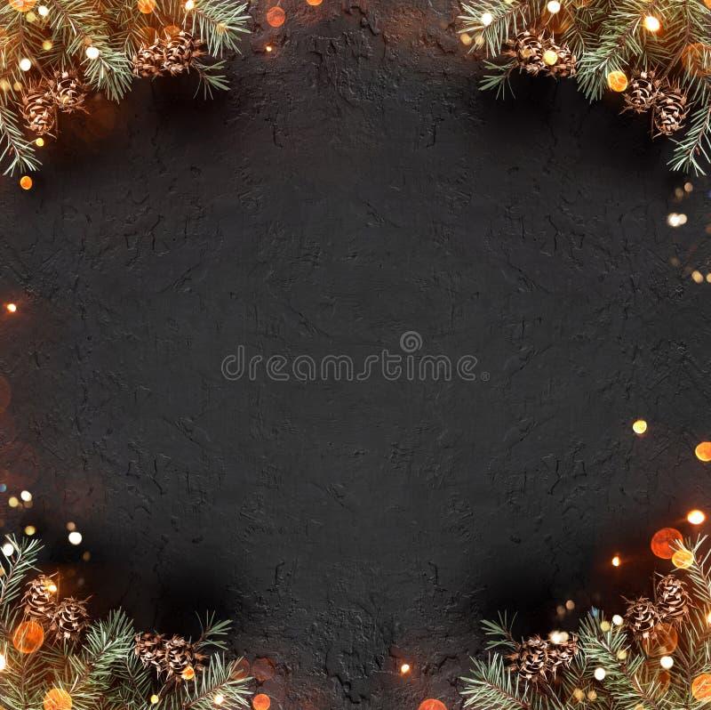 Het creatieve die lay-outkader van Kerstmisspar wordt gemaakt vertakt zich met denneappels op donkere vakantieachtergrond met lic stock foto's