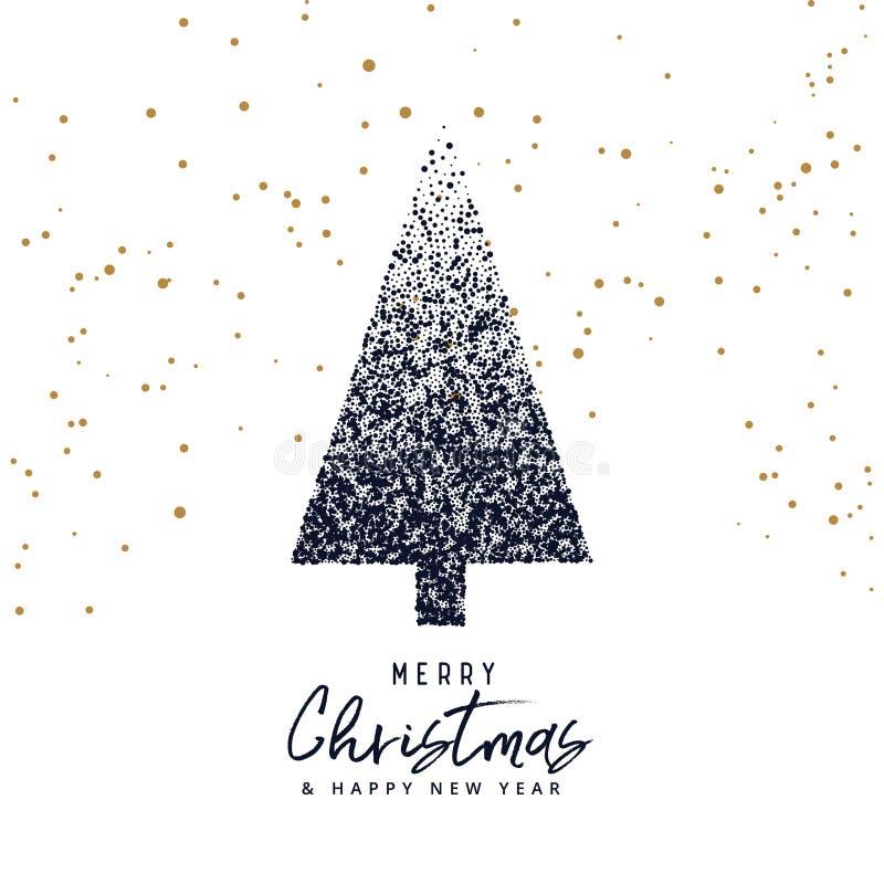 Het creatieve die ontwerp van de Kerstmisboom met punten, Kerstmisgroet wordt gemaakt vector illustratie