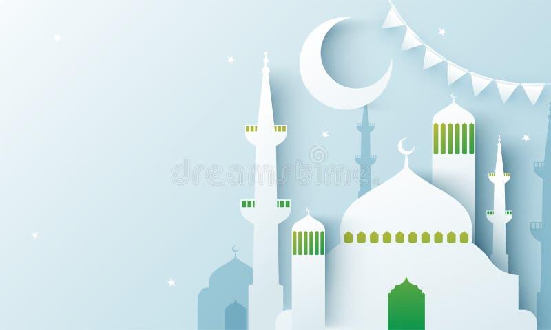 Het creatieve document sneed illustratie van moskee en maan, decoratie van bunting voor Ramadan Kareem royalty-vrije illustratie