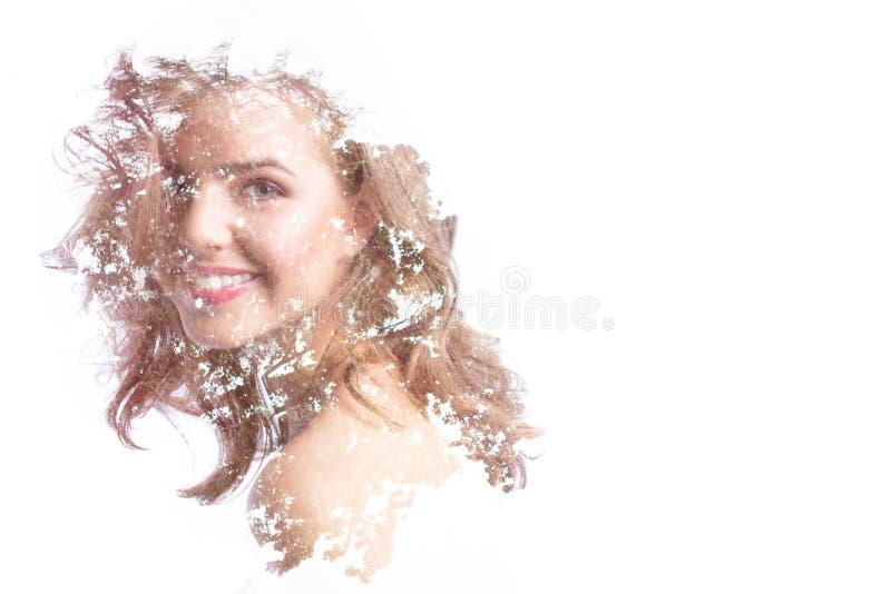 Het creatieve effect van de portret dubbele blootstelling stock foto