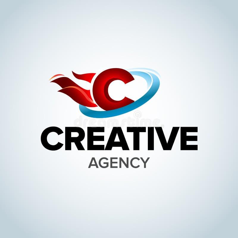 Het creatieve Embleem van de agentschapbrief C C de Vector van het Brievenontwerp met vlammen Illustratie vector illustratie