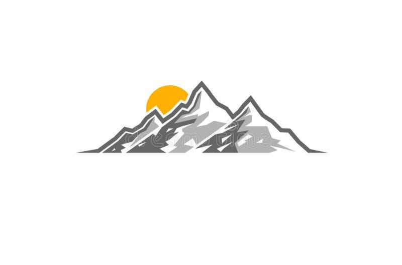 Het creatieve Embleem van de Bergenzonsopgang stock illustratie