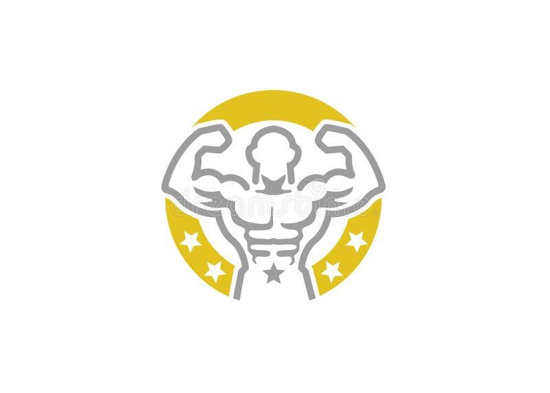 Het creatieve Embleem van de Bodybuildercirkel royalty-vrije illustratie