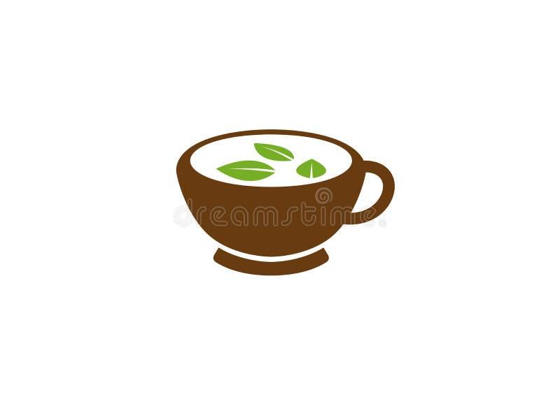 Het creatieve Embleem van de Mok Groene Thee stock illustratie