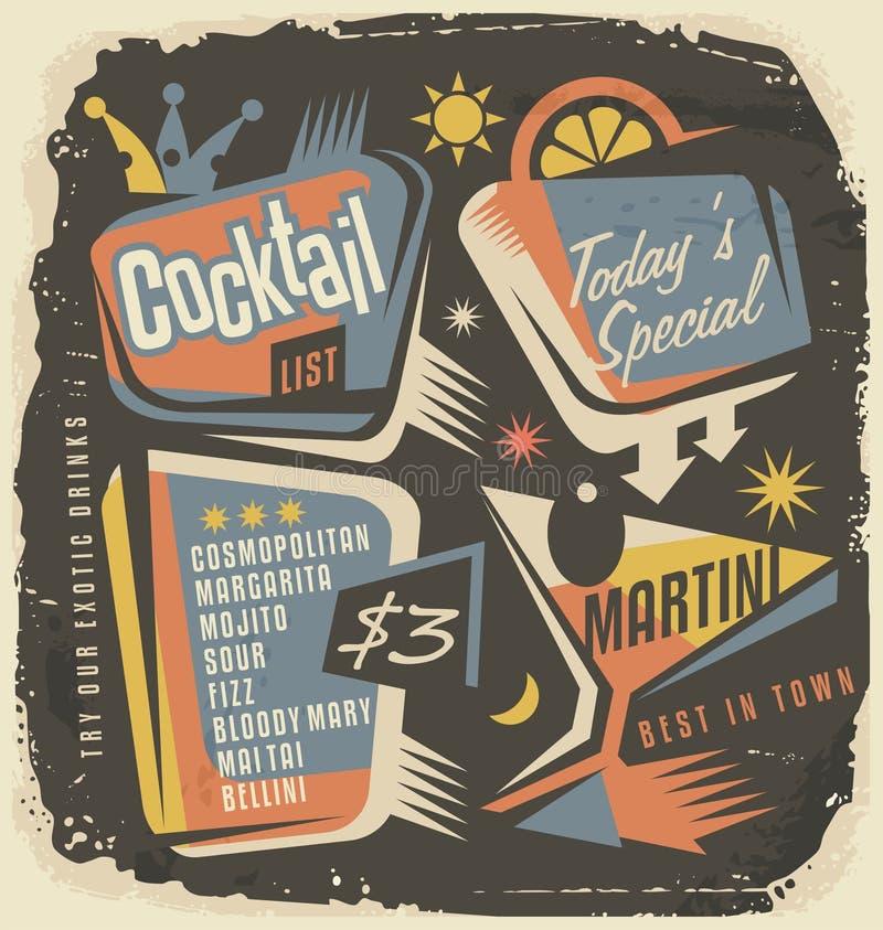 Het creatieve en unieke malplaatje van de cocktaillijst royalty-vrije illustratie