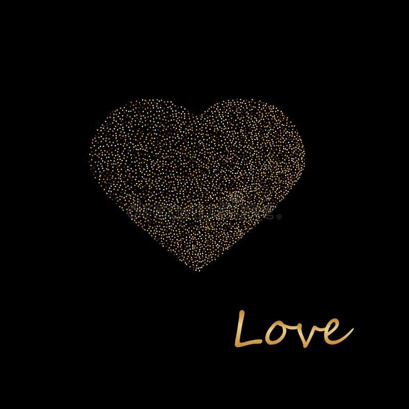 Het creatieve Fonkelende die Hart door Gouden wordt gemaakt schittert voor de Dagviering van Valentine s of Liefdeconcept royalty-vrije stock fotografie